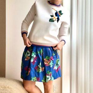 Anthropology Maeve Garden Blue Floral Print Skirt